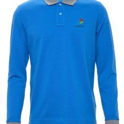 Kaos Olahraga Berkerah Lengan Panjang biru abu misty