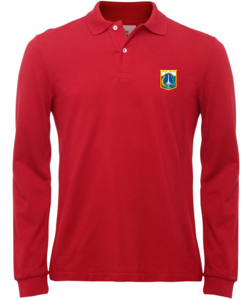 Kaos Olahraga Berkerah Lengan Panjang Warna Merah