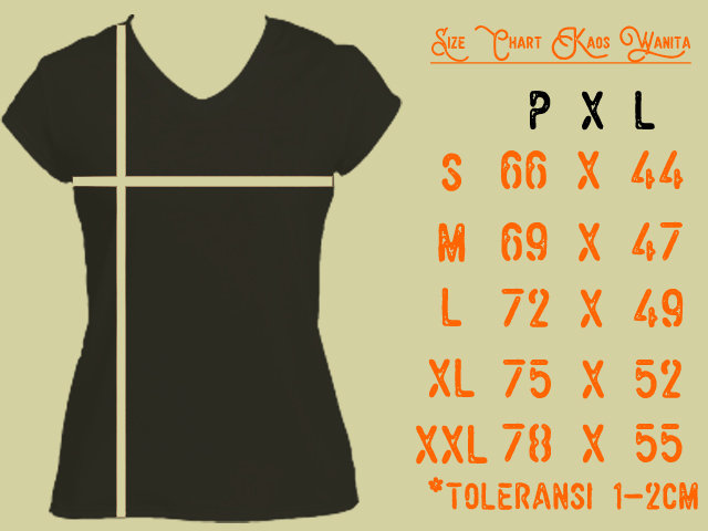Size Chart Kaos Wanita – Standar Ukuran Kaos Indonesia