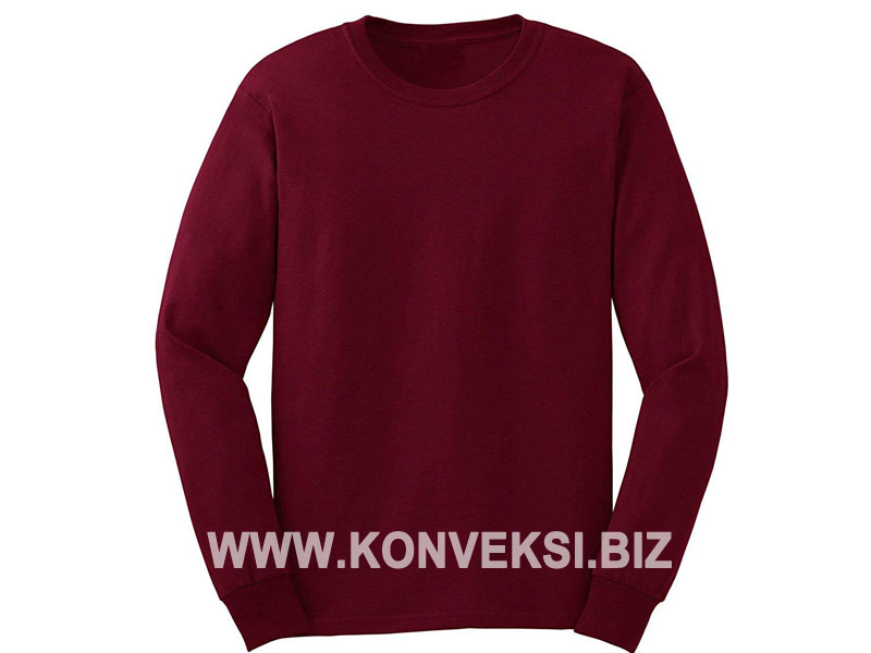 Kaos Merah Maroon Lengan Panjang