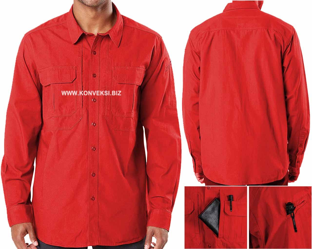 Kemeja Tactical Merah Lengan Panjang