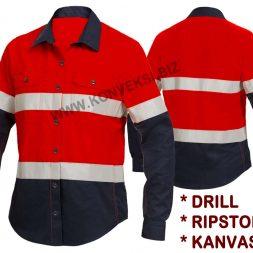 Kemeja Safety Merah Biru Seragam Tambang