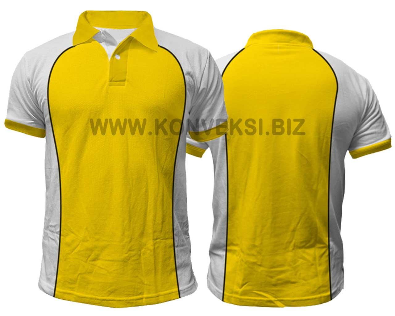 Kaos Kerah Kuning Putih Raglan Lengan Pendek