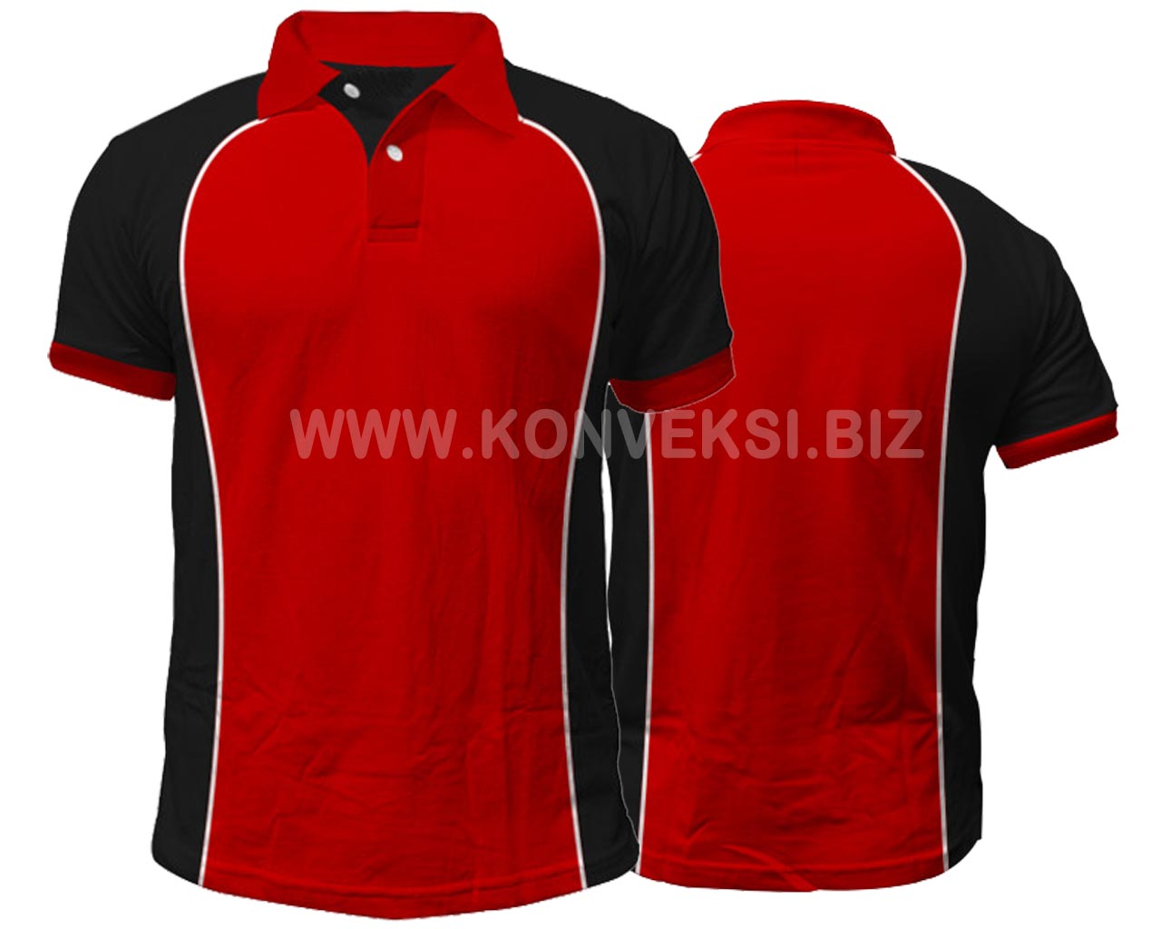 Kaos Kerah Merah Hitam Desain Keren