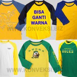 Kaos Olahraga Kuning Raglan Lengan Panjang