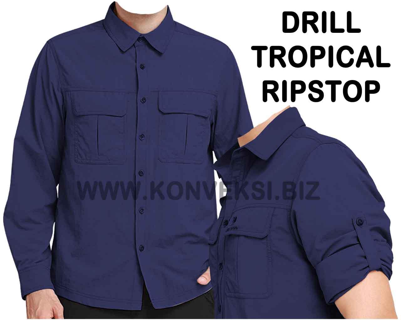 Baju PDL Navy Dongker Lengan Panjang